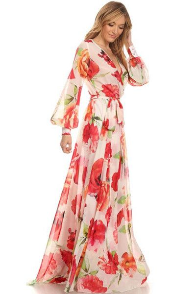 Beautiful floral print wrap maxi dress