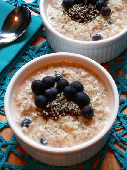 B & B Sunrise: A Banana, Blueberry and Chia Seed Breakfast Cereal |  This power breakfast bowl is sure to jump-start your morning! It's packed with rolled oats, chia seeds, milk (dairy or non-dairy), yogurt, and sweetened with banana, blueberries, agave syrup and a bit of fig jam (optional).
