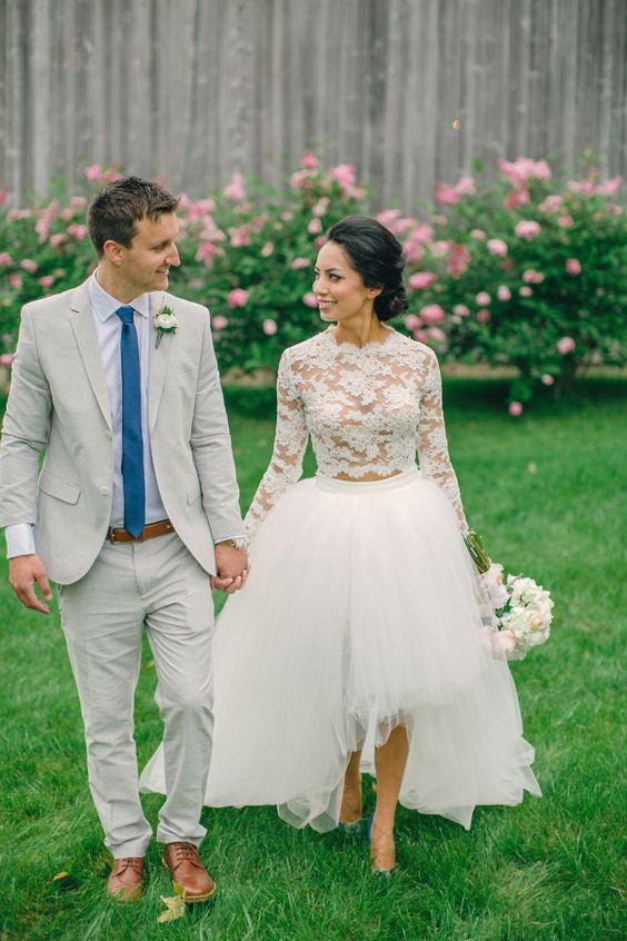 Gorgeous two-piece lace and chiffon dress