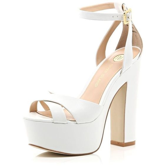 River Island White leather chunky block platform heels ($40