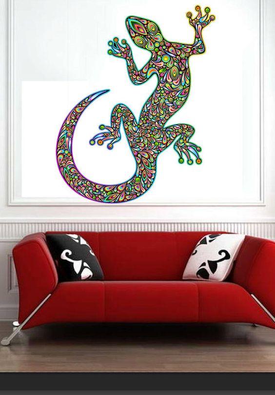 Artisic Colorful Lizard Color Animals Kids Children Nursery - Full Color Wall Decal Vinyl Decor Art Sticker Removable Mural Modern B186