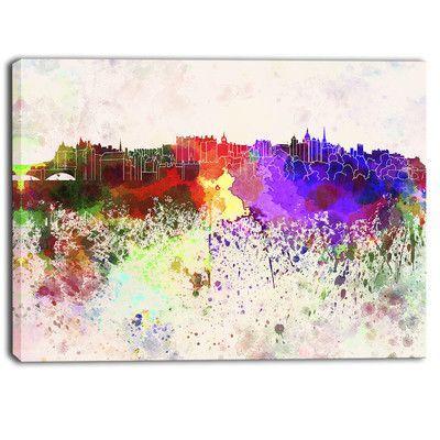 DesignArt Edinburgh Skyline Cityscape Painting Print on Wrapped Canvas Size: