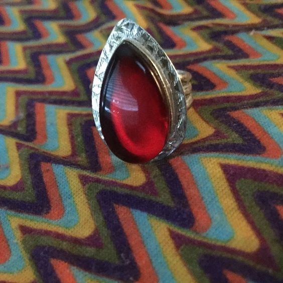 Sterling silver ring with red glass! GORGEOUS! Great teardrop Sterling silver ring with red glass. Size 8.5 Jewelry Rings