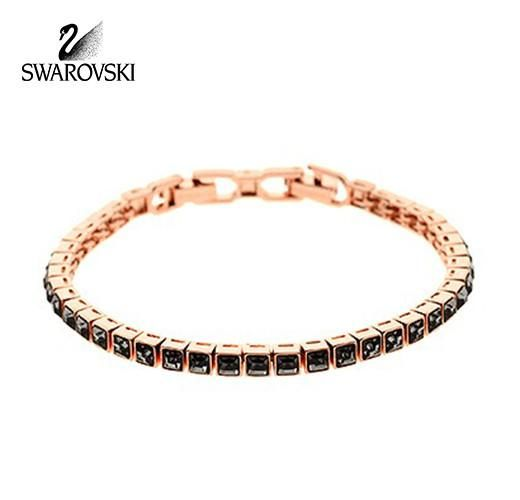 Swarovski Dark Crystal Tennis Square Bracelet Rose Gold Plated 5076867