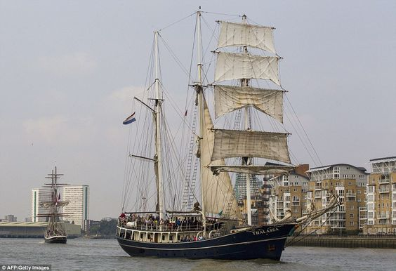 Thalassa on the River Thames during the Royal Greenwich Tall Ships Regatta
