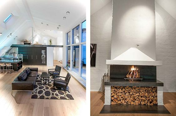 Apartments, Fetching Architecture Design Of Stockholm Apartment In Ostermalm Featuring Interior Attic Penthouse With Fireplace, Living Room Furniture, And Rug: Luxurious Stylish Scandinavian Attic of Apartment in Stockholm