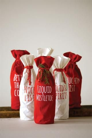 1 Christmas Fabric Wine Bags With Drawstring Time Your Gift In 2020 Fabric Wine Bags Wine Gift Bag Wine Gifts