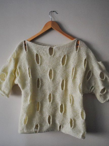 Hand Knit Sweater Ivory Cream slouchy  by BouquetSpecialDesign, $89.00
