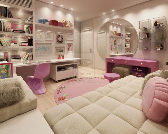 A Unique Pillows Or Bolsters Decoration For Young Women Bedroom In White And Pink Theme Completed With Big Mirror And Work Space In White In The Corner