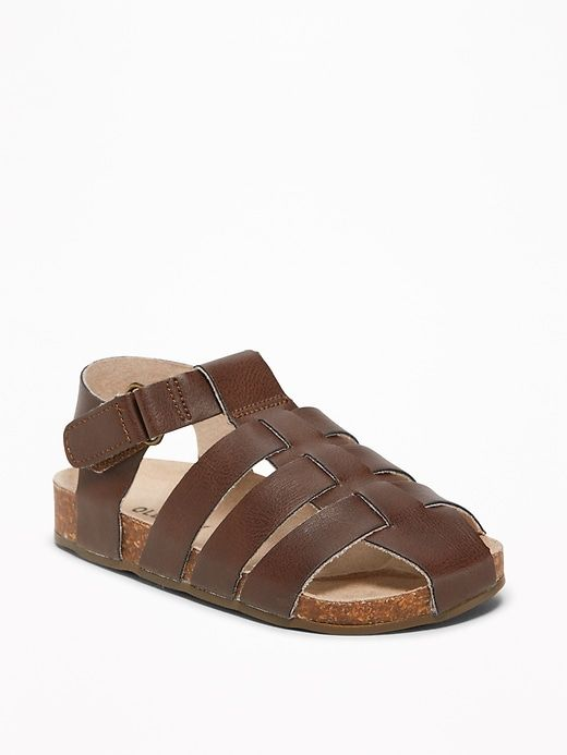 Faux-Leather Fisherman Sandals for