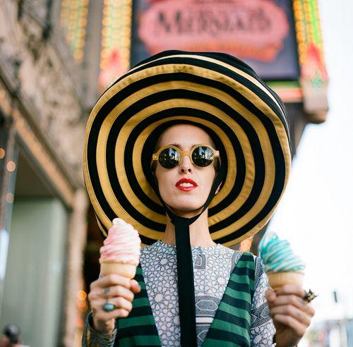The Prada hat, Illesteva Sunglasses, and two ice-cream cones.