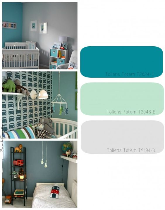 Chambre denfants gris / bleu canard / vert amande.