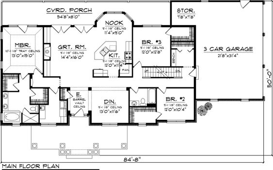 Country style house plan 3 beds 2 baths 2016 sq ft plan for 1050 sq ft floor plans