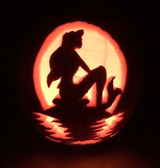 Mermaid pumpkin carving my ariel little disney