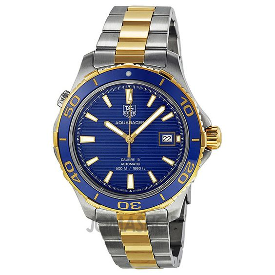 Tag Heuer Aquaracer Blue Dial Yellow Gold Plated and Steel Mens Watch WAK2120.BB0835