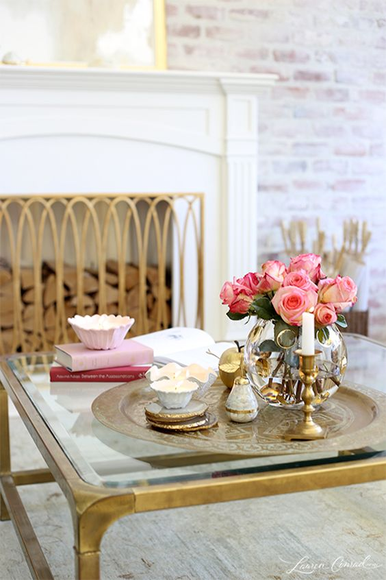 French-inspired coffee table styling:
