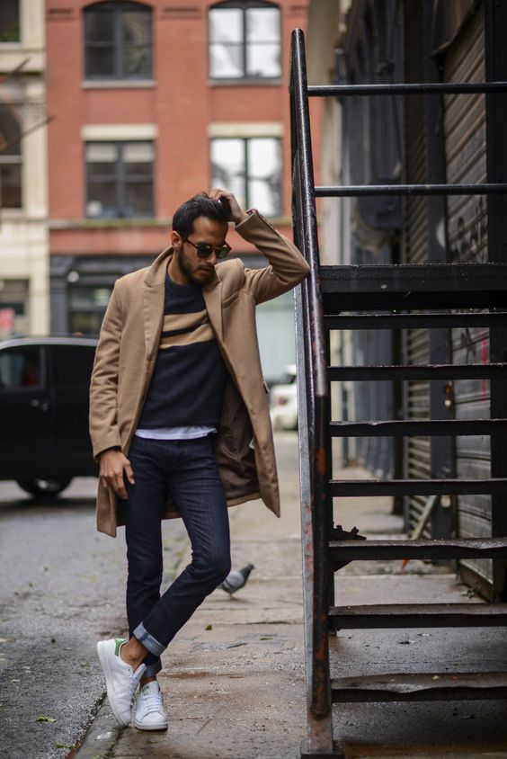 """""""This collection has everything you need for the season (including this double striped knit and camel coat) and is up for grabs, now!"""" -Moti Ankari of The Metro Man 
