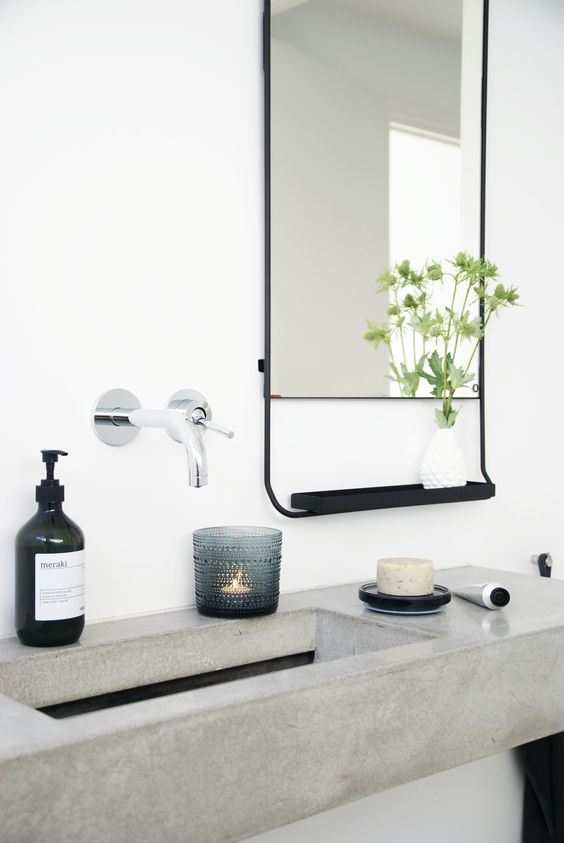 bathroom concrete black and white salle de bains b ton noir et blanc deco toilettes. Black Bedroom Furniture Sets. Home Design Ideas