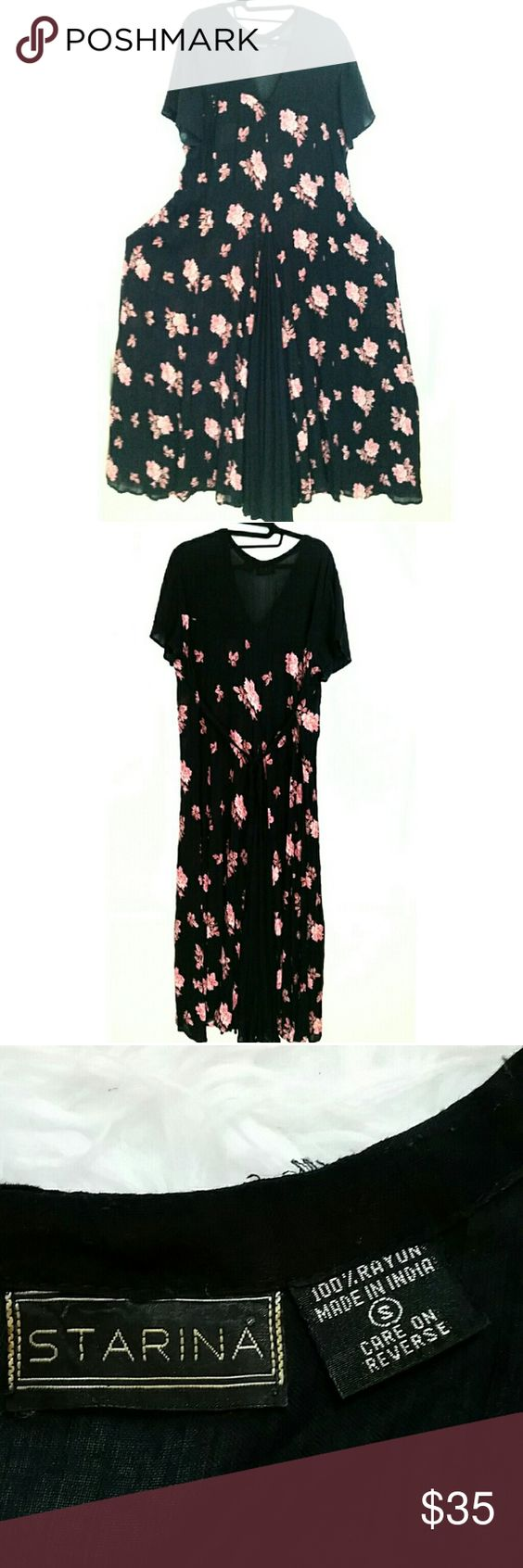 Starina Floral Boho Grunge Vintage Maxi Dress S Beautiful Starina flowy black/pink floral vintage Boho maxi dress. Approximate measurements in inches taken laying flat & measuring from corner to corner then doubling to get full measurement around.  BUST: 44 WAIST: 48 HIP: 64 LENGTH: 55 FABRIC: Starina Dresses Maxi