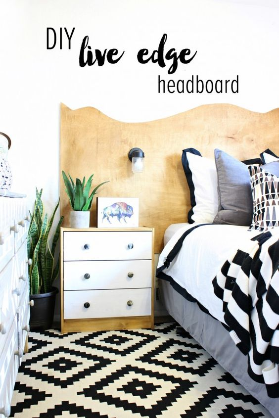 DIY Live Edge Wooden Headboard - Easy and inexpensive to build! Click ...