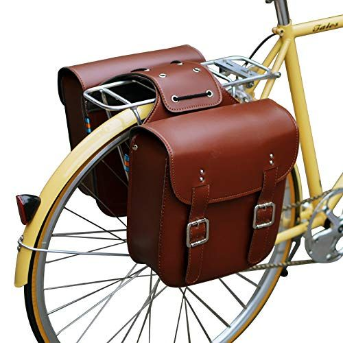 senqi retro bicycle rack bag leather
