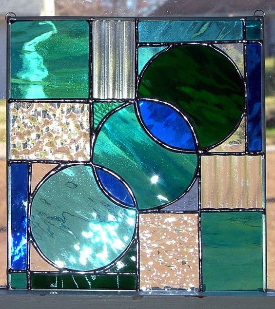 Abstract Stained Glass Suncatcher/Panel by StainInTheGlass on Etsy, $55.00