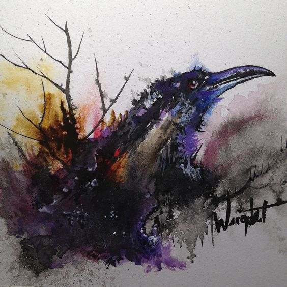 ravenwatercolortattoojpg 10002151000 art pinterest