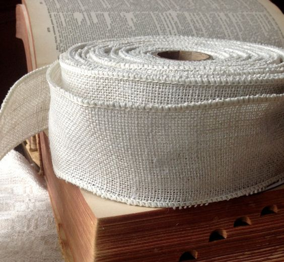 rustic white burlap wired ribbon rustic primitive elegant country diy wedding projects on Etsy, $2.00