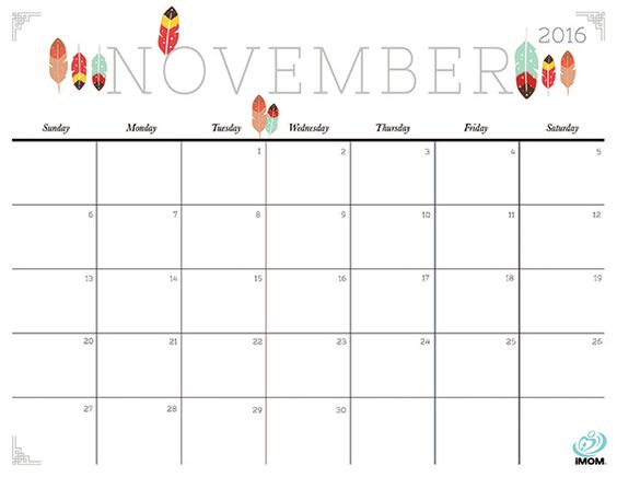 Download iMOM's Free November 2016 printable calendar. I spy feathers…and more feathers.: