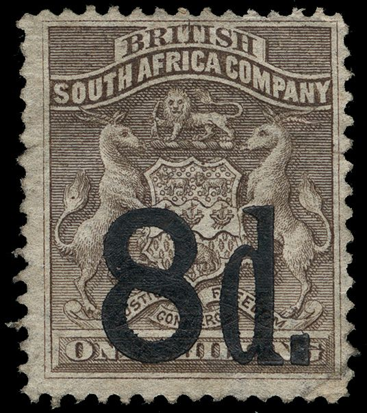 Rhodesia 20-23 (14-17) 1892 ½d on 6d-8d on 1' Coat of Arms provisional overprints SG Type 3, unwmkd, perf 14, 14½, cplt (4)