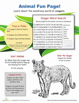 Printables Fun Science Worksheets science worksheets and animal fun on pinterest fourth grade life with cougars
