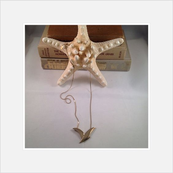 Vintage Necklace David Aubrey Gold Seagull Signed by Lilyspad58, $50.00