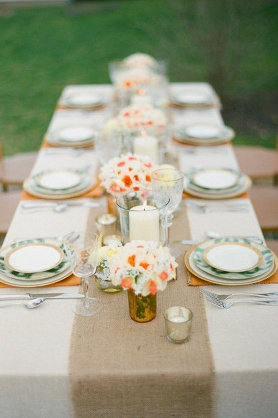 coral and burlap table runner