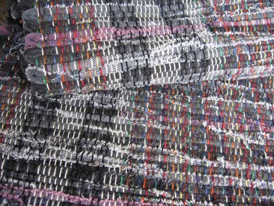 denim black purple rag rug 42 x 26 hand woven upcycled black denim jeans interspersed with purple/mauve denim throw rug fringes 93 via Etsy