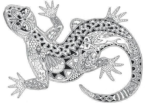 Zentangle Animals Gecko zentangle