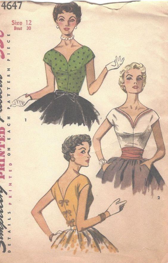 "1950s Vintage Sewing Pattern B30"" BLOUSE & CUMMERBUND (R791) #Simplicity"