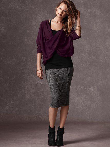 Cable-knit Midi Skirt #VictoriasSecret http://www.victoriassecret ...