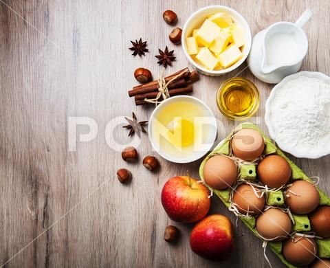 Top View Of Kitchen Table With Baking Ingredients Stock Image