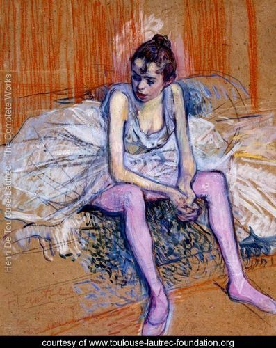 Seated Dancer In Pink Tights - Henri De Toulouse-Lautrec - www.toulouse-lautrec-foundation.org