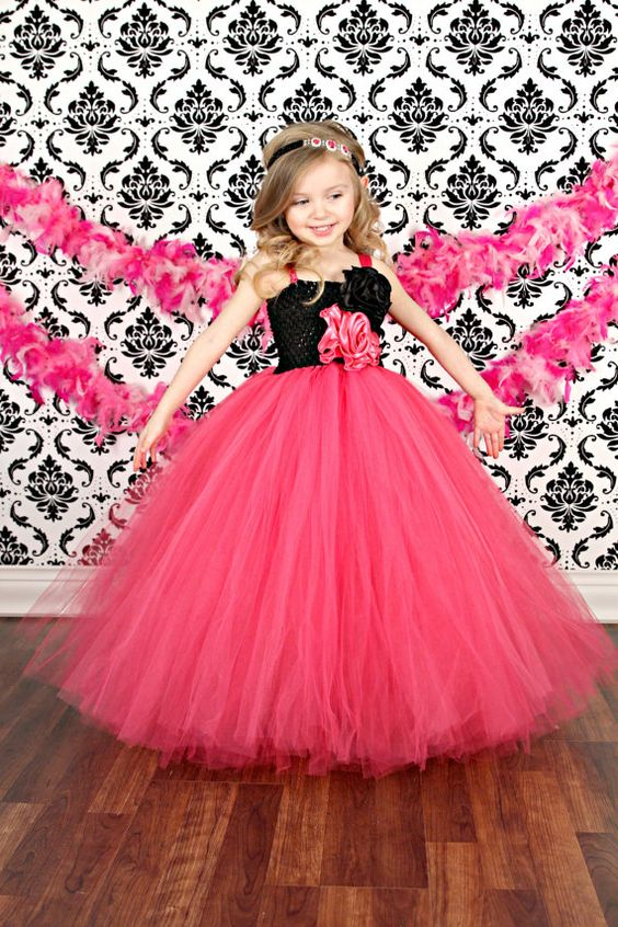 Hot Pink and Black Flower Girl Wedding Couture Tutu Dress:
