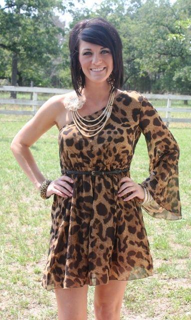 Wild Thang Leopard One Shoulder Dress