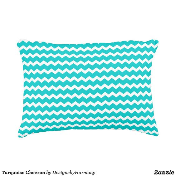 Turquoise Chevron Accent Pillow