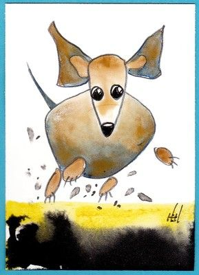 "original hand painted  ACEO card by Harry E. Hooper,  ""Running Dachshund"""