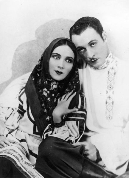 A still of Rod La Rocque an American actor and Dolores del Rio a Mexican actress in one of their upcoming features early to mid 20th century