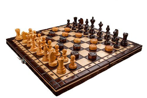 Nouveau manuel fini Jeu d'échecs + Dames cerisier bois
