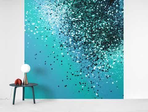 Aqua Blue Ocean Glitter 1 Wall Mural Kids Room Wall Murals Glitter Paint For Walls Kids Wall Murals