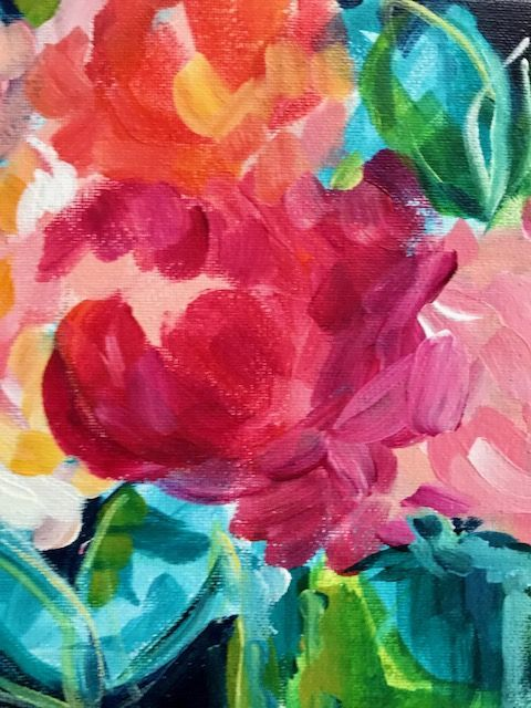 Loose Colorful Abstract Flowers On Canvas In Acrylic Paint Painting Tutorial Flower Painting Canvas Painting Art Painting Oil
