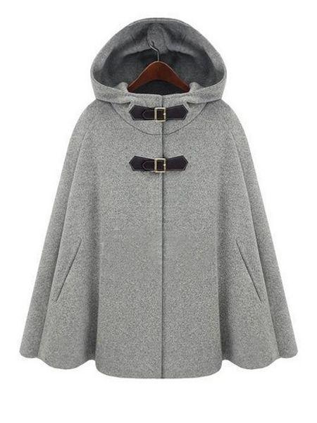 Fantastic PU Leather Buckle Cape Coat