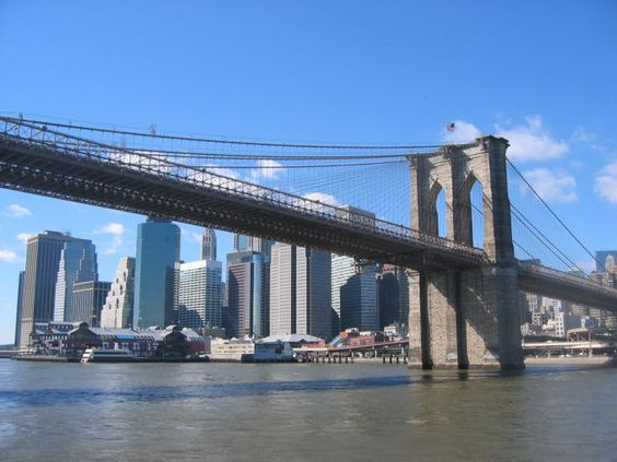 Brooklyn Bridge!  Famous b/c, well, Brooklyn is of course the coolest place on earth, but also because it's neat looking.