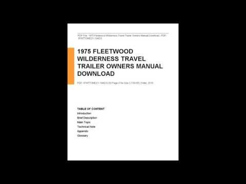 1975 Fleetwood Wilderness Travel Trailer Owners Manual Download Youtube Instruction Guide Manual Guide Concept Review
